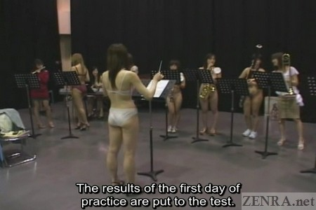 Underwear clad conductor leads a practice session