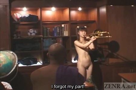 Nudist flat chested Japanese trombone player practices with audience
