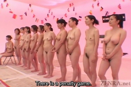 Nudist Japanese housewives line up for volleyball awards ceremoney