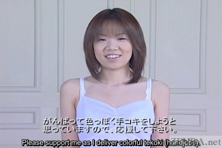 Japanese woman in white dress interviewed about handjobs