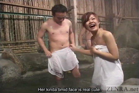 Happy Japanese amateur at mixed gender onsen