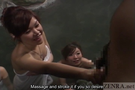 Impromptu Japanese handjob at bathhouse