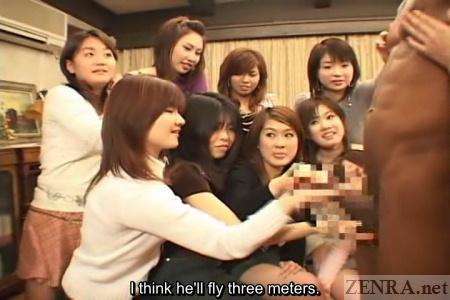 japanese handjob class - ... Japanese CFNM class has black model for handjob practice ...
