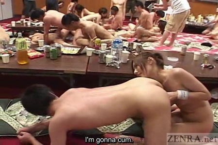 Anal teasing during Japanese orgy