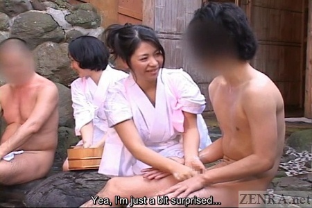 Embarrassed client with erection at Japanese bathhouse