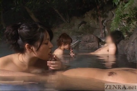 Double fellatio at onsen at night