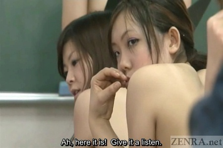 Concerned nudist Japanese schoolgirl looks back