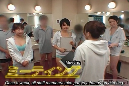 Japanese sauna staff meeting
