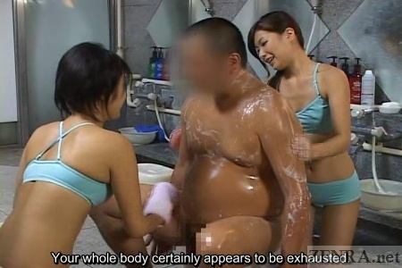 Sauna ladies bathe heavyset customer