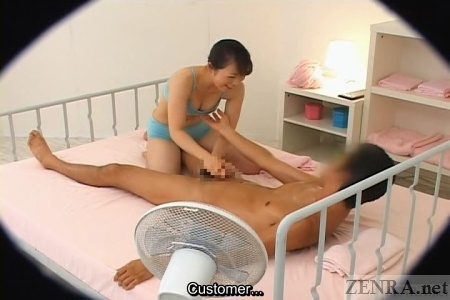 CFNM handjob during massage
