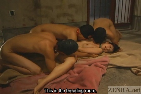 Japanese group sex in dirty room