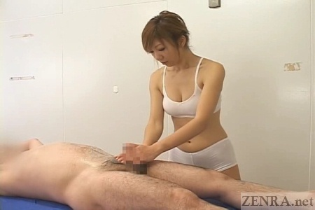 CFNM handjob at spa in Japan