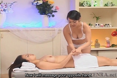 Busty woman massaged by masseuse