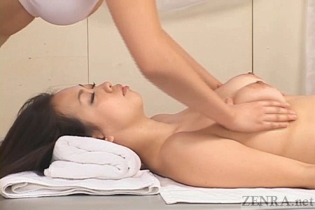 Big breasts massaged by masseuse