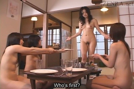 Japanese nudist futanari dinner time