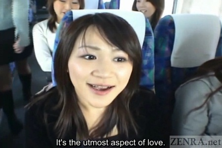 Japanese woman on bus talks about sex