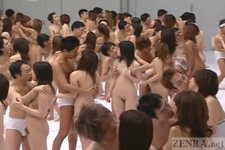 Nudist Japanese couples numbering 500 kiss