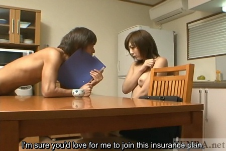 Demure nudist insurance saleswoman covers herself