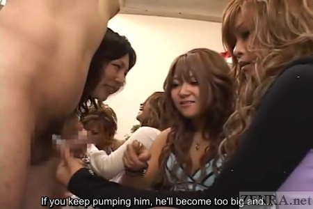 Tan Japanese gyaru CFNM handjob instructional