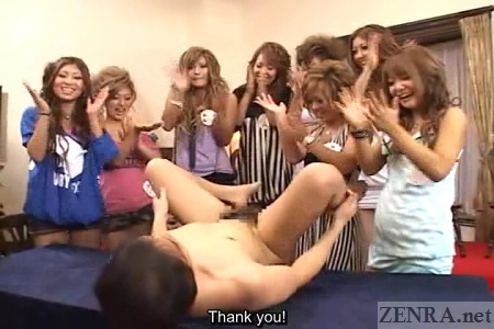 Clapping Japanese gyaru with naked man