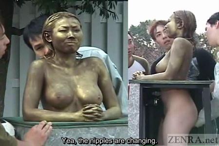 Strange japanese gold fetish with hot babe giving footjob 7
