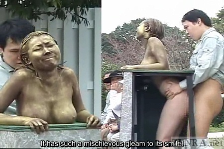 Rear sex with naked park statue in Japan