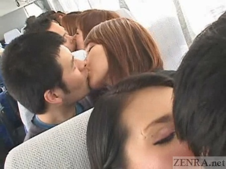 Group kissing on bus