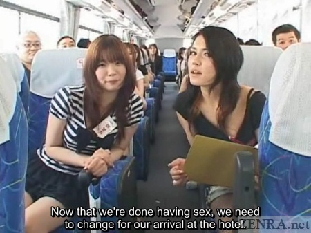 Japanese AV stars prepare to change on bus