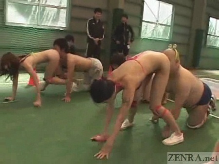 Bottomless Japanese oral sex relay game