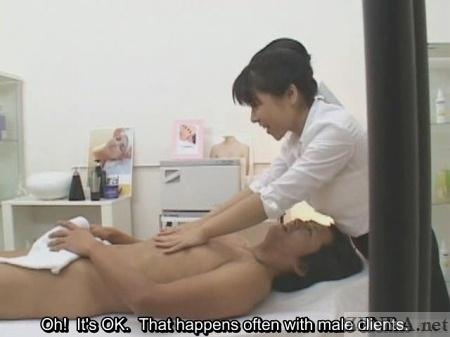 Embarrassing erection during Japanese massage