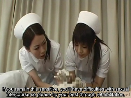 Japanese nurses closely inspect penis