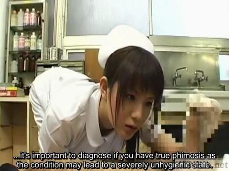 Japanese nurse intimately examines penis