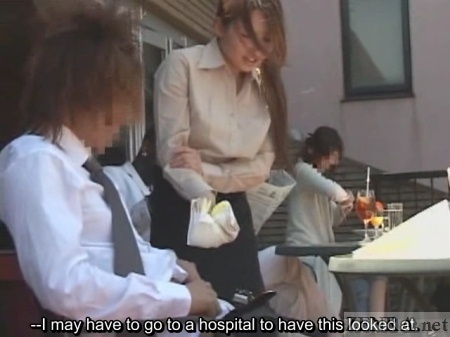 Heated groin surprise at outdoor cafe
