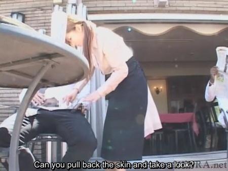 Japanese waitress looks at customers erection