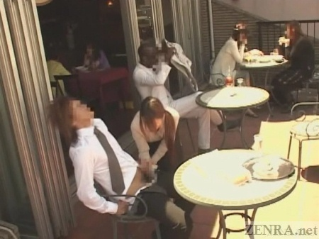 Outdoor Japanese cafe handjob