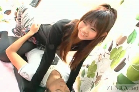Bizarre Japanese clothed cowgirl foreplay