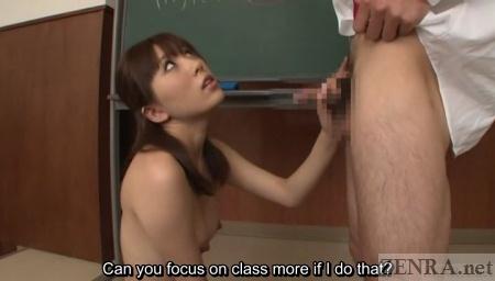 Japanese teacher gives handjob