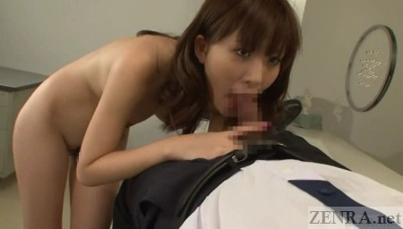 Naked Japanese woman gives blowjob