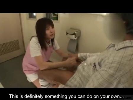 Caregiver gives handjob in bathroom