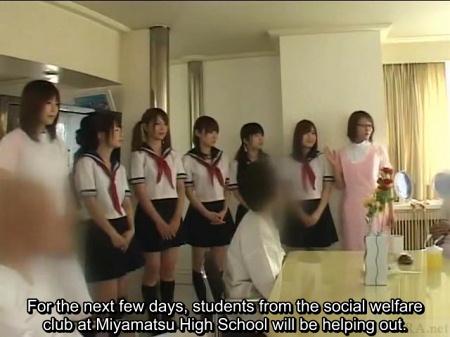 Japanese schoolgirls at retirement community