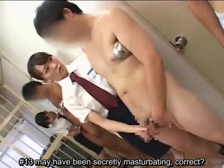 Female warden gives CFNM handjob
