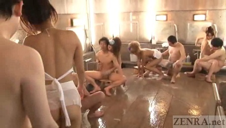 Japanese hostesses engage in bathing orgy