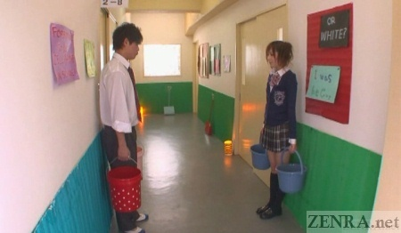 Schol in Japan hallway bucket penalty