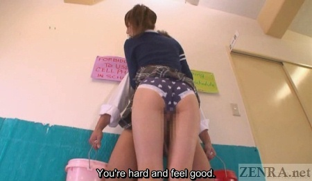Schoolgirl in panties rubs against erection