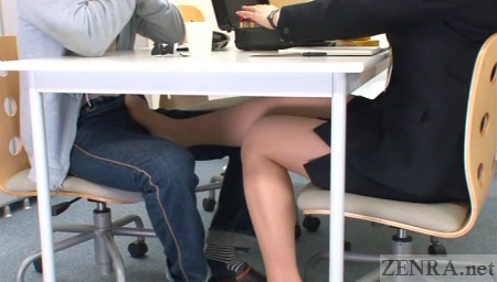 Japanese office covert footjob