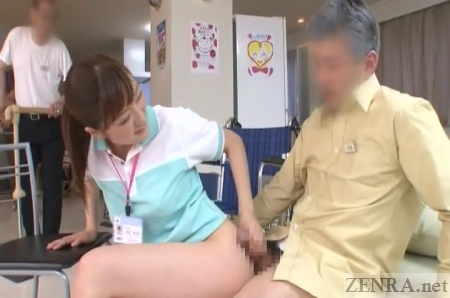 No panties Japanese handjob in rec room