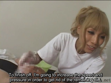 CFNM penis massage with tan Japanese gyaru
