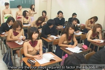 Topless Japanese parents on nudist observation day