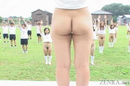 Bottomless outdoor Japanese schoolgirl gym class