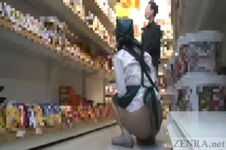 Bottomless public nudity exhibitionist in supermarket